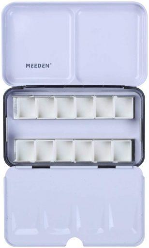 Meeden - Caja para acuarelas vacía, que contiene 12 medias bandejas o 6 enteras Tin with half pans (12) negro