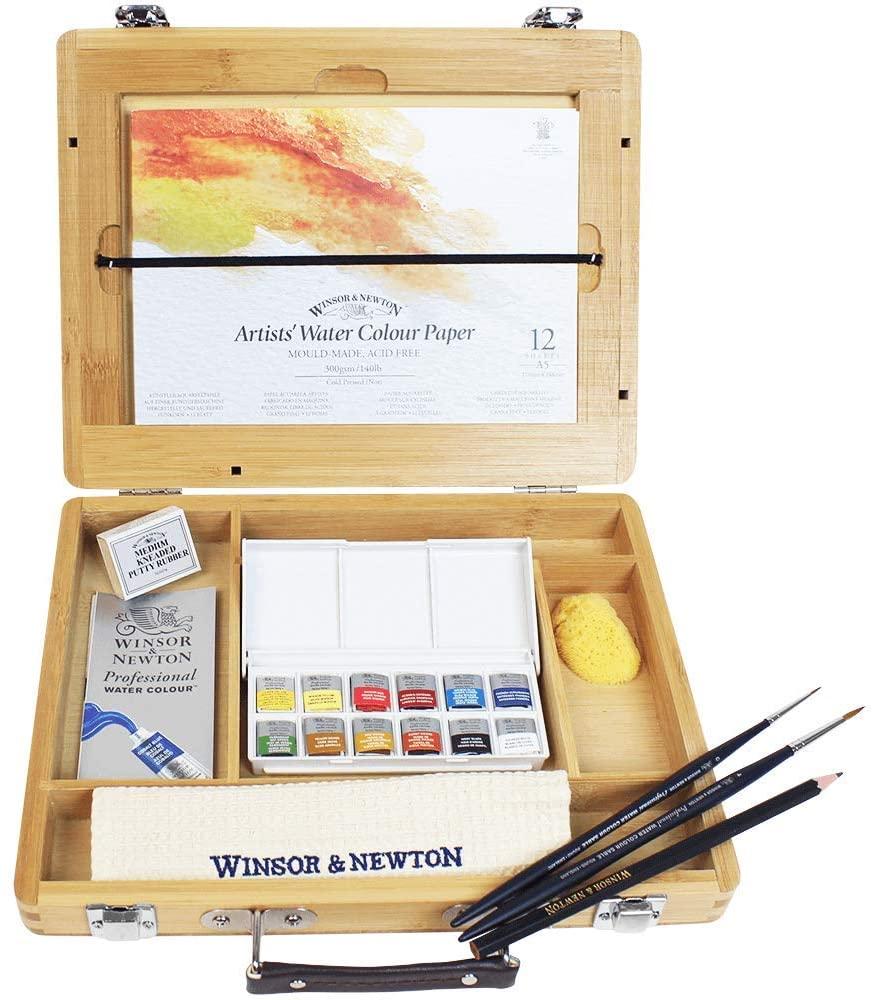 Winsor & Newton – Set de acuarelas en maletín de bambú