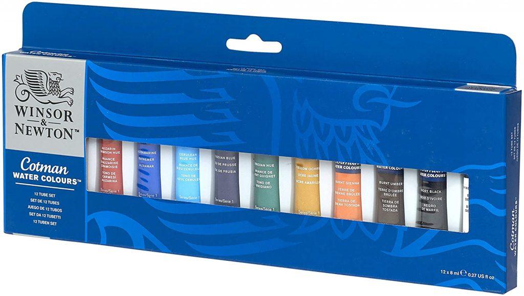 Winsor & Newton - Juego de tubos de pintura para acuarela (8 ml, 12 unidades)