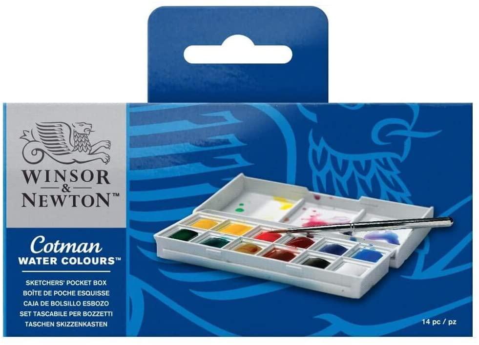 acuarela Winsor & Newton Sketcher Cotman Caja plástica de acuarela, 12 medio Godet